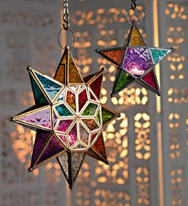 Lantern~Large Moroccan Style Hanging Star Tonal Glass Lantern~Fair Trade by Folio Gothic Hippy LT35